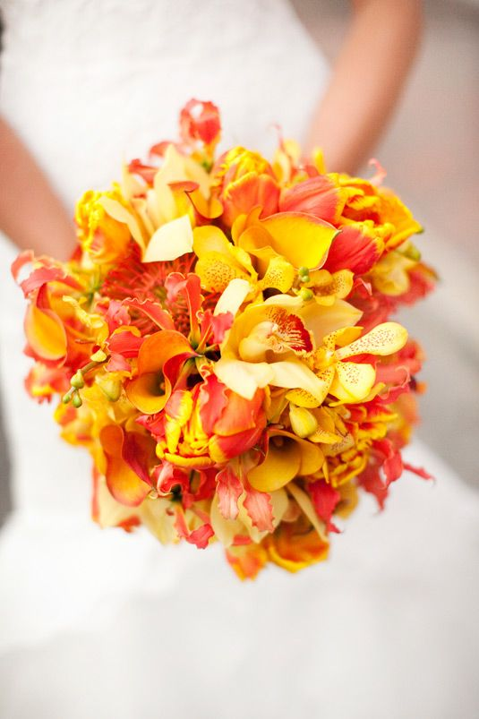 Salt Harbor Design, Millie Holloman Photography - yellow orchids and gloriosa lilies with tulips