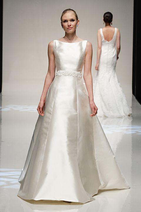 Left Silk Mikado Wedding Gown Middle Shantung Sheath Right Gazar Ball