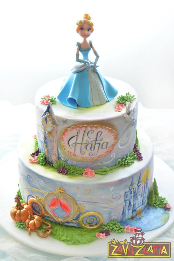 Marvelous Hand Painted Cinderella Cake made by Zavrzlama