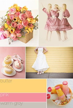Yellow pink gray wedding colors