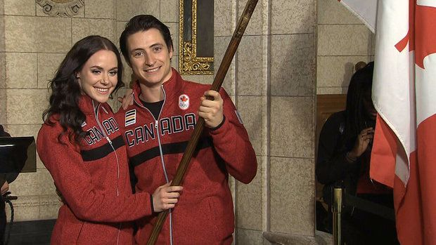 OLYMPICS 17h ago Jan.16 2018 - Virtue and Moir named Team Canada flag bearers Virtue and Moir named Team Canada flag bearers 2:27 Prime Minister Justin Trudeau named ice dancers Tessa Virtue and Scott Moir as Team Canada's flag bearers for the 2018 Olympics. Four years ago, it was Canadian hockey legend Hayley Wickenheiser who carried the flag during the opening ceremonies in Sochi. Virtue and Moir named Team Canada flag bearers