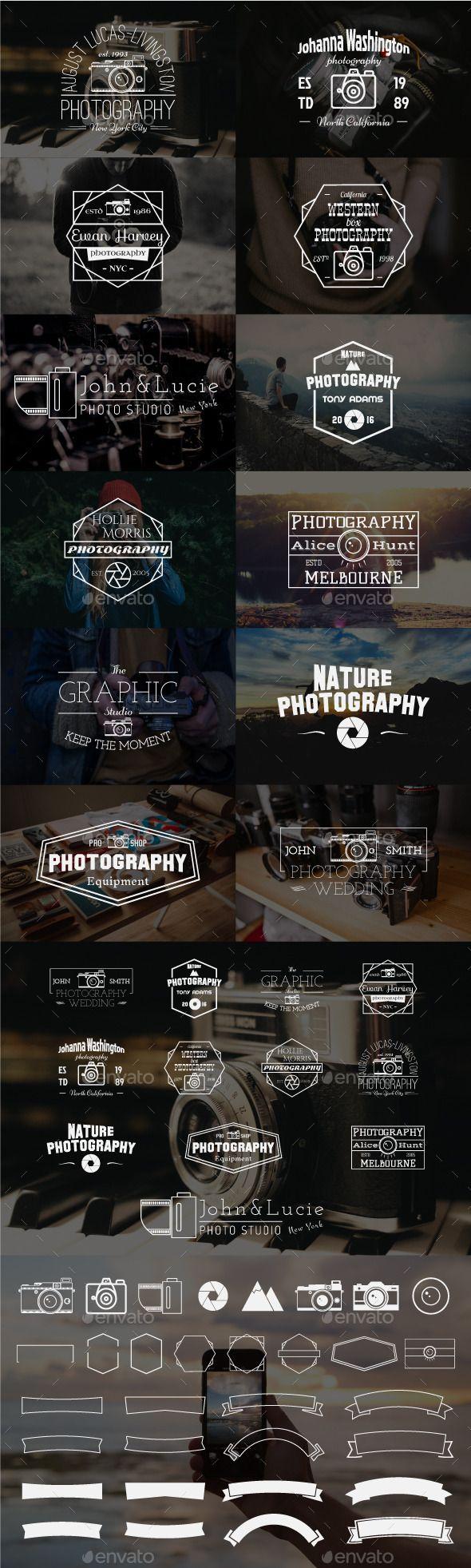 12 Vintage Photography Badges - Badges & Stickers Web Elements