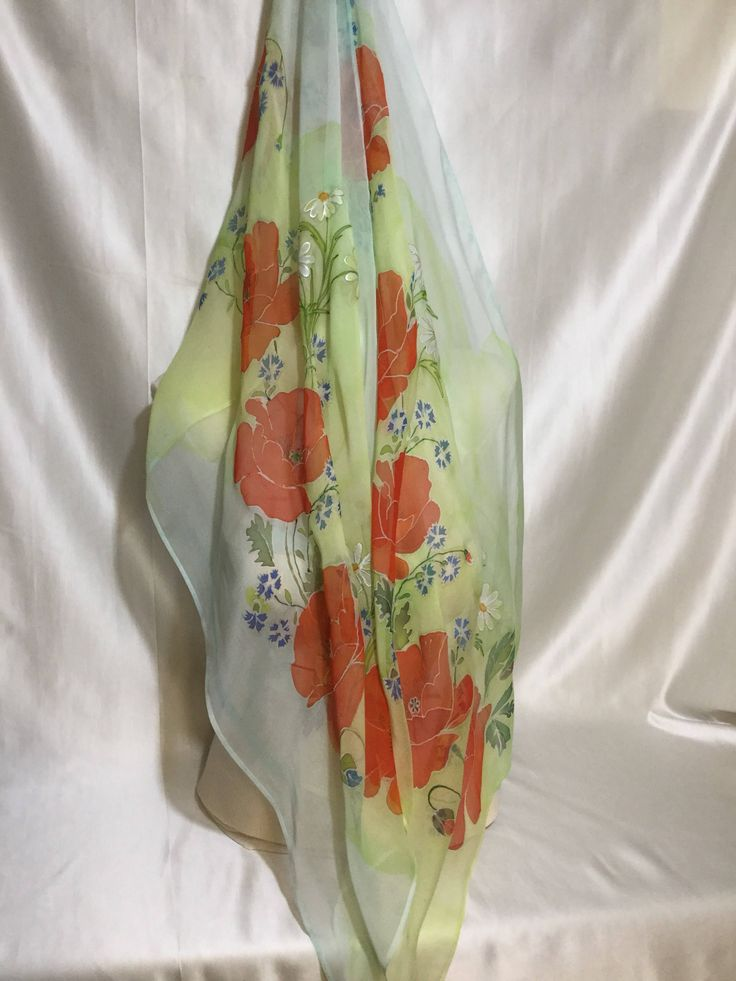 Silk scarves,hand painted poppies,daisies,silk chifon by AllOfMyHobbies on Etsy https://www.etsy.com/listing/576211878/silk-scarveshand-painted