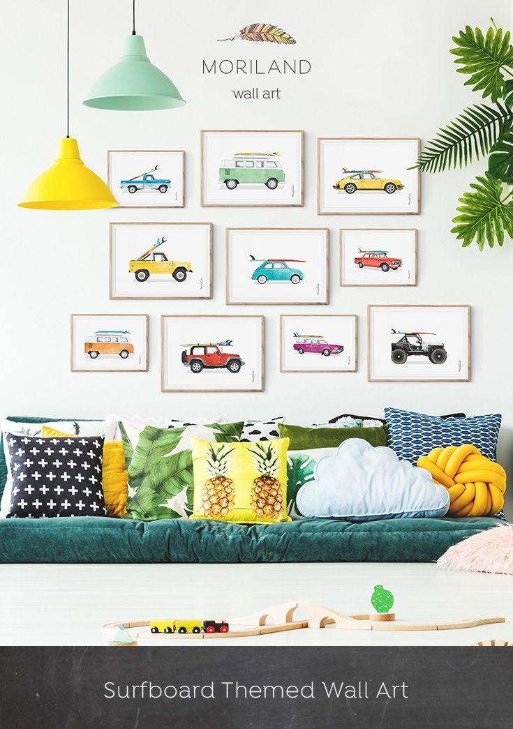 Car Print, Vintage Car Print, Bedroom Wall Art, Surfboard Wall Art ...