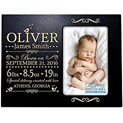 Personalized New Baby birth announcement picture frame for newborn boys and girls Custom engraved photo frame for new mom and dad parents and grandparents (Black)