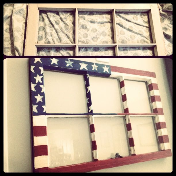 Revamped old window. Distressed american flag.