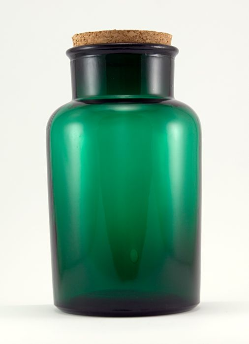 Dark Emerald Green Glass Canister Jar Big 1 Gallon Jar With Cork Top. Great  For