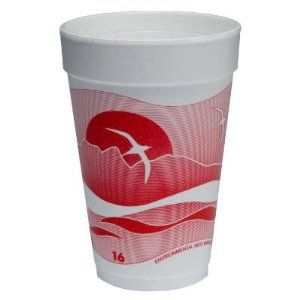 """16 oz Horizon Foam Cup 25/Bag Printed in Cranberry/White by Dart Container Corp.. $101.03. 16J16H Features: -Foam cups for hot and cold beverages.-Helps keep beverages at their optimal temperature.-Insulation reduces condensation, maintains carbonation and slows ice melt.-Ideal for coffee, tea, soda or any other hot or cold beverage. Color/Finish: -Bright designs provide a pop of color. Dimensions: -Dimensions: 9.1"""" H x 1"""" W x 1"""" D."""
