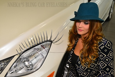 Our model Stephanie rocking a classy Prada is enticed and captivated by our Metallic Sultry Silver  - Nneka's Bling Car Eyelashes - airbrushed tips at our local Mercedes Benz Dealership. This headight dress is a great gift and completion to a daring lady's driving experience! http://nnekas.com/product/nnekasblingcarlashes/SILVERTIPCAREYELASHES.html  #careyelashes
