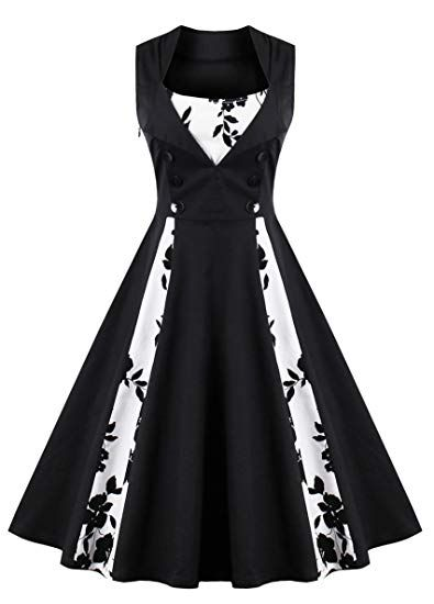 bef50920f73 KILOLONE Women 50s Plus Size Christmas Party Retro Vintage Rockabilly  Classic A-Line Pinup Cocktail Swing Dresses