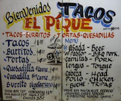 El Pique Mexican Food Menu
