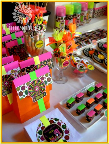 fiesta-disco-birthday-party-ideas-neon-color-themed-snacks