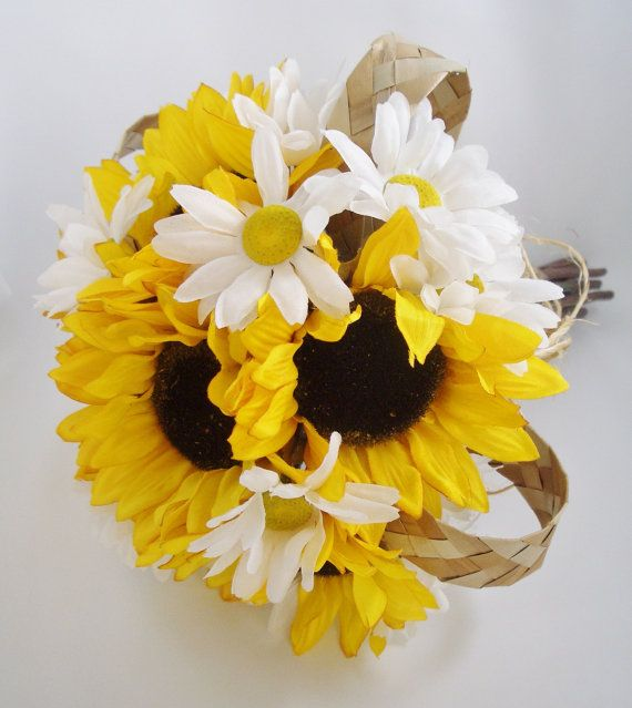 Rustic Sunflower Daisy Bouquet Wedding Flowers Yellow