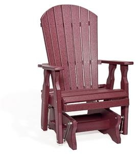 Amish Fan Back Single Poly Lumber Patio Glider Chair