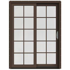 Jeld-Wen W-2500 59.25-In 10-Lite Glass Dark Chocolate Wood Sliding Patio Door With Screen Lowoljw220100688