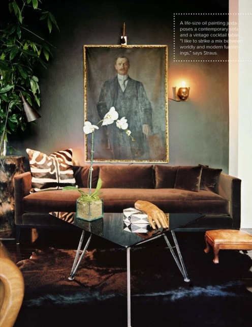 dark and moody: Oil Paintings, Home Interiors, Living Rooms Design, Brown Couch, Interiors Design, Modern Home, Modern Houses Design, Design Home, Dark Wall