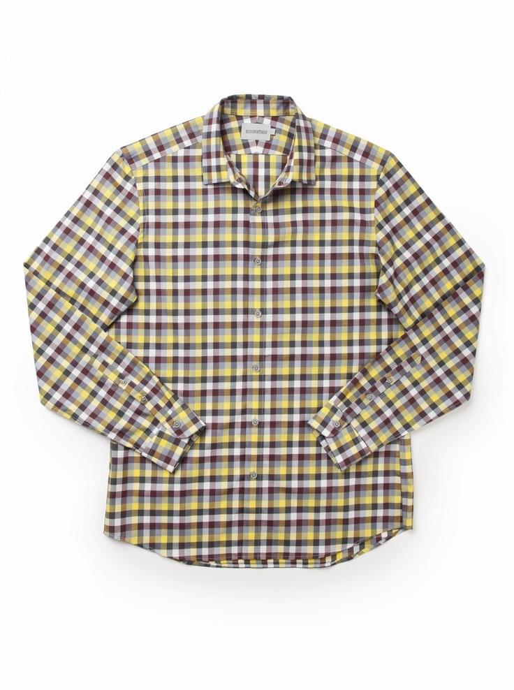 brooksfield Paulo Check Urban Shirt in yellow.