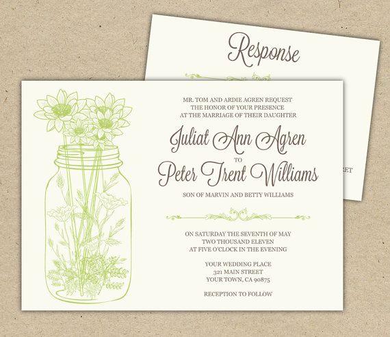 Wedding Invitations Mason Jar: Mason Jar Wedding Invitations And RSVP And Wild Flowers