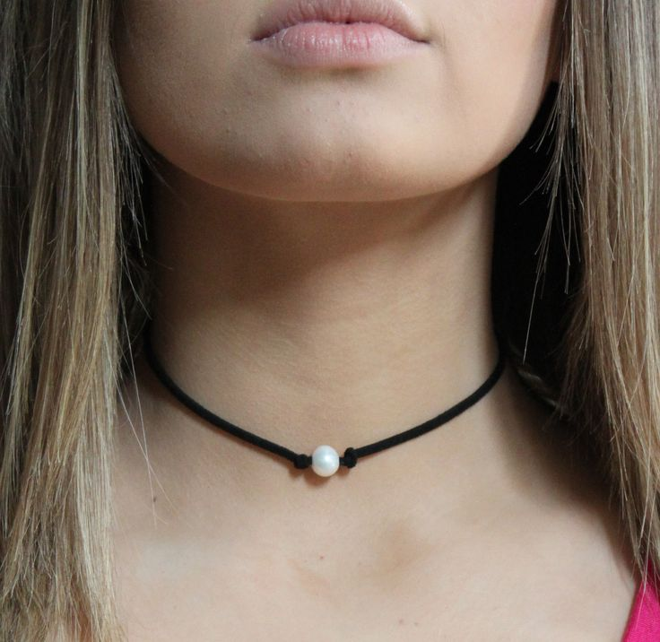 "Single freshwater pearl choker- 27"" in length, adjustable. (ties in back) Looks fab with the Wrap Necklaces!"