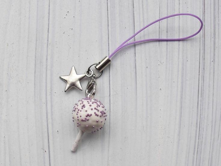purple star cake pop phone strap polymer clay