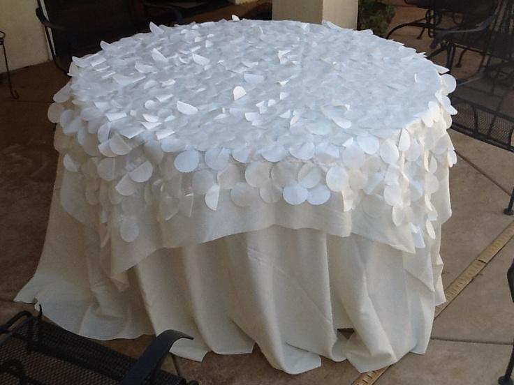 Custom Wedding Table Cloth Overlay Ivory.