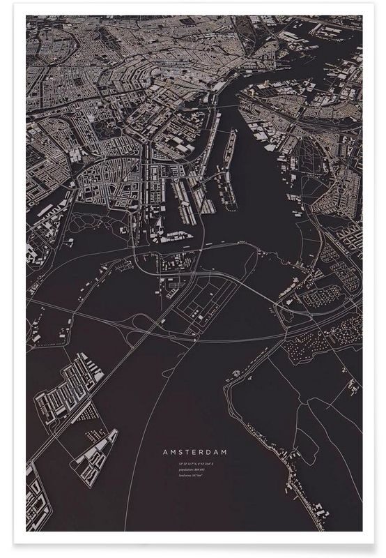 Amsterdam City Map als Premium poster door Maptastix | JUNIQE