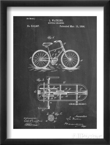 Bicycle Gearing Patent Poster sur AllPosters.fr