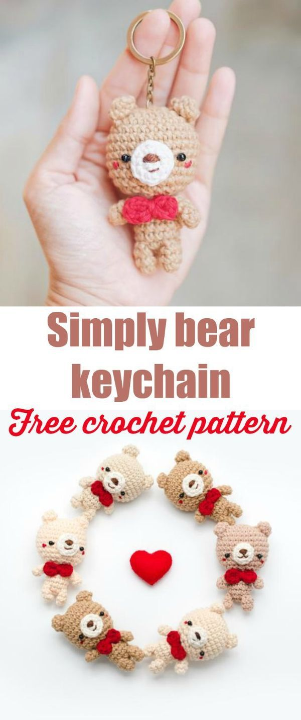 Cute teddy bear amigurumi pattern, free. Makes a nice keychain.
