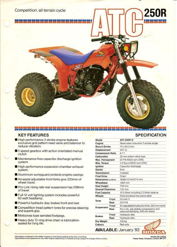 1983 Honda 250R ATC.  Photo Courtesy of Vintage Factory ATC Racer