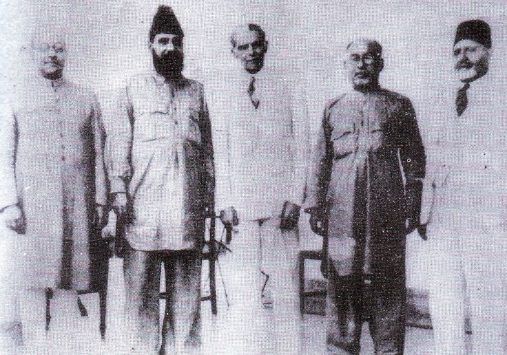 (L-R) Liaquat Ali Khan, Allama Mashraqi, Muhammad Ali Jinnah, Barrister Mian Ahmed Shah and Sir Ziauddin Ahmed