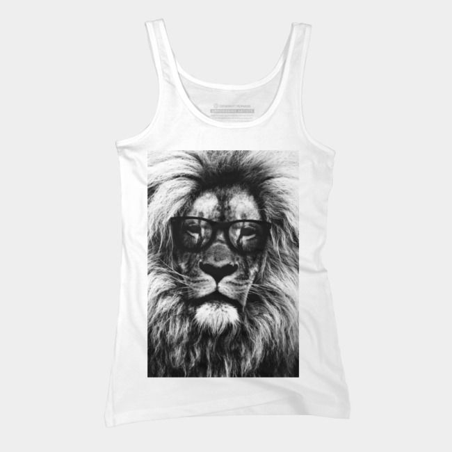 Hipster lion black and white Tank Top