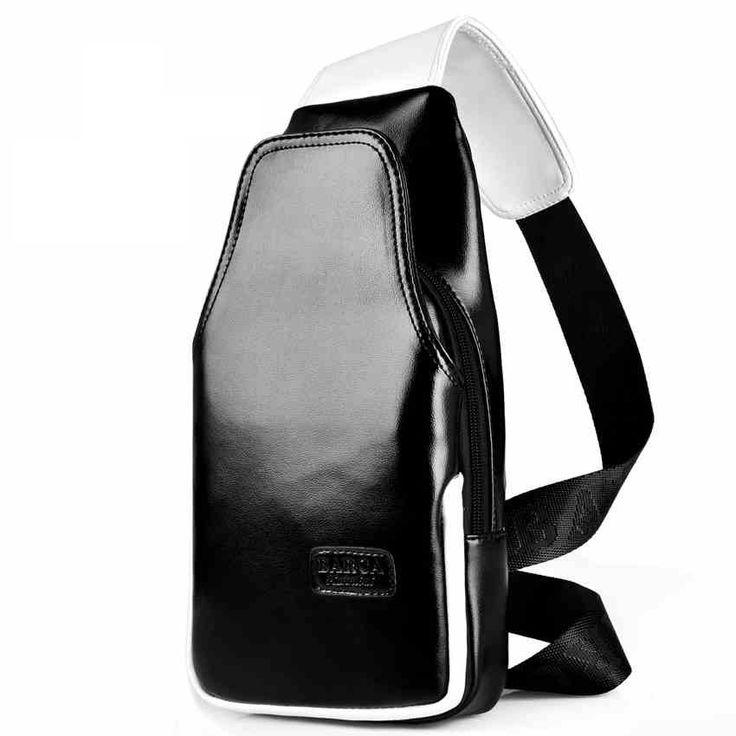 Men's Classical Solid Cross body Bag with Zipper Design