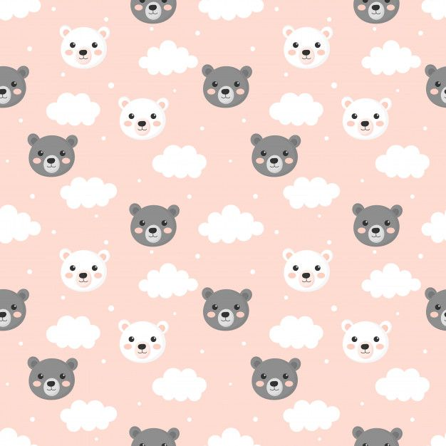 Seamless Pattern With Cartoon Baby Teddy Free Vector Freepik Freevector Background Patte Flower Background Wallpaper Wallpaper Iphone Cute Baby Prints