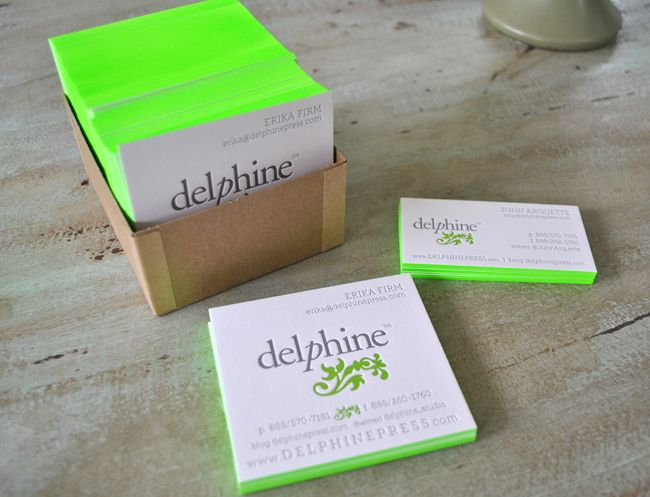 Neon green edge painted letterpress business cards // Delphine