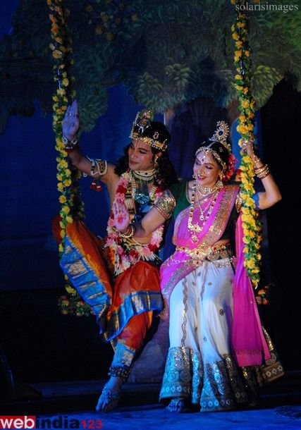 Bollywood actor Hema Malini and dancer Rahul D'souza performs 'Radha Rassbhari' dance ballet during the Pune festival in Pune, India on September 14, 2013. Pune Festival will mark its silver jubilee celebrations. The ten-day festival kicked off on September 9 at Ganesh Kala Krida Rangmanch