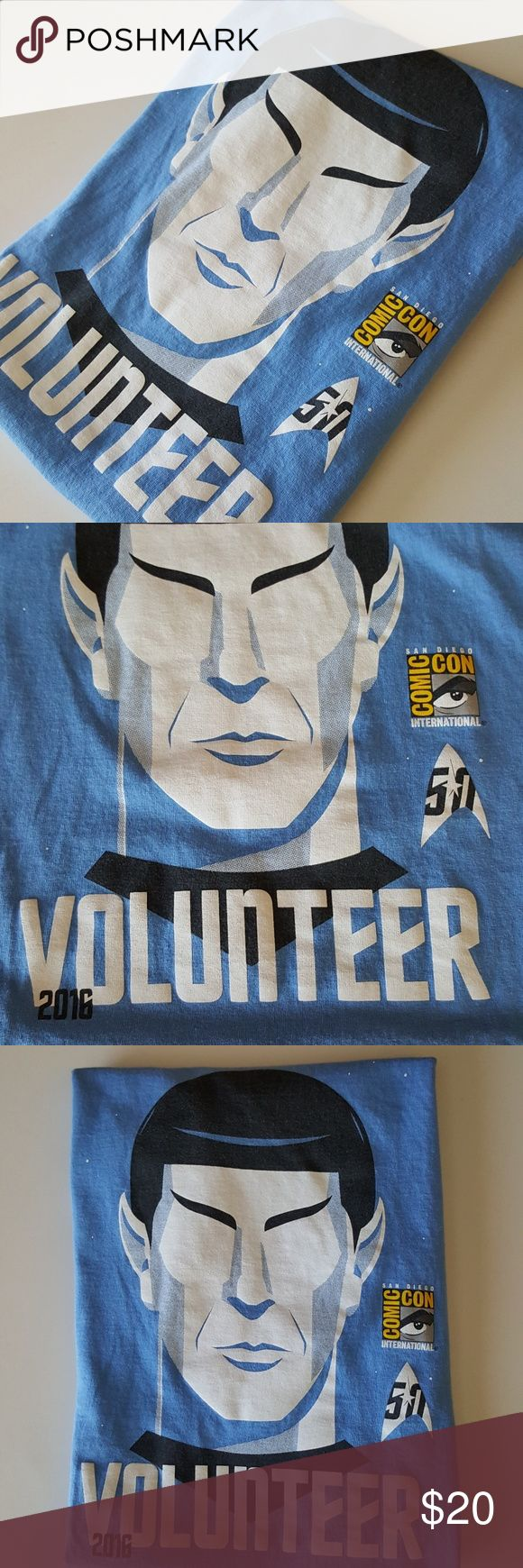 2016 San Diego Comic Con Spock Star Trek Shirt Good to very good pre-owned condition. 2016 SDCC San Diego Comic Con Blue Spock Star Trek Volunteer Shirt. Exckusive during 59th Star Trek Anniversary Outdoor Movie Premier in San Diego. Size: S/ P/CH. Hanes Tops
