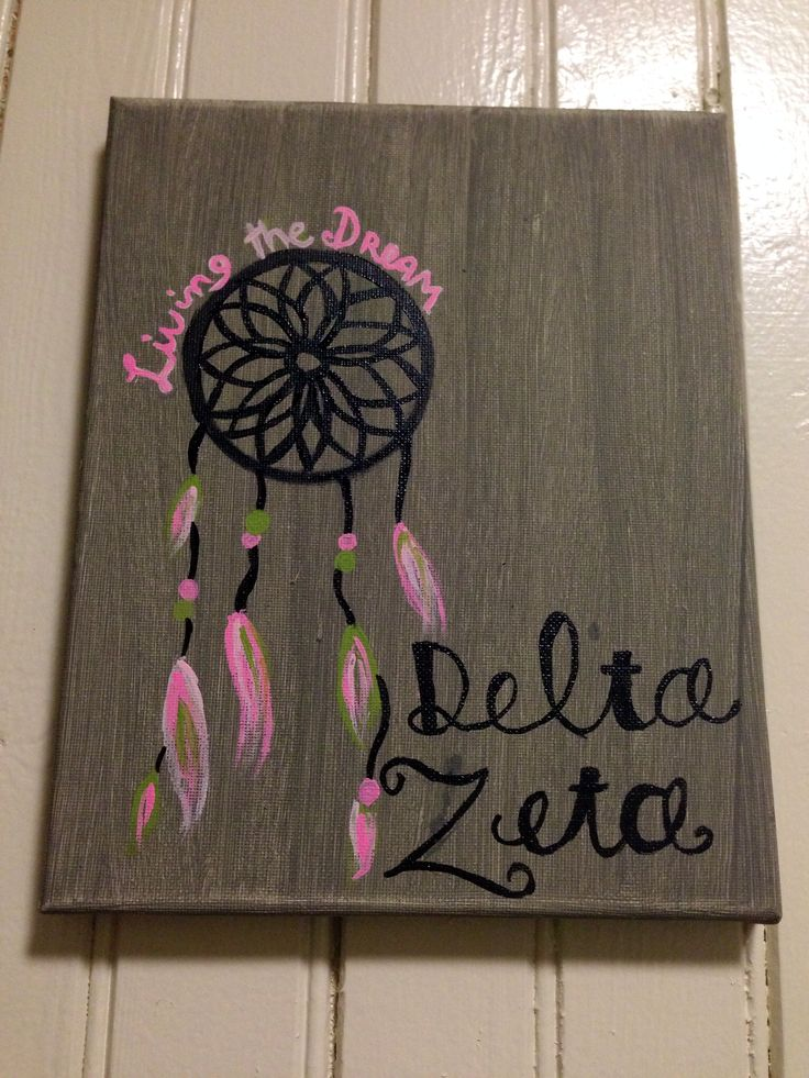 delta zeta dream catcher diy canvas sorority crafts