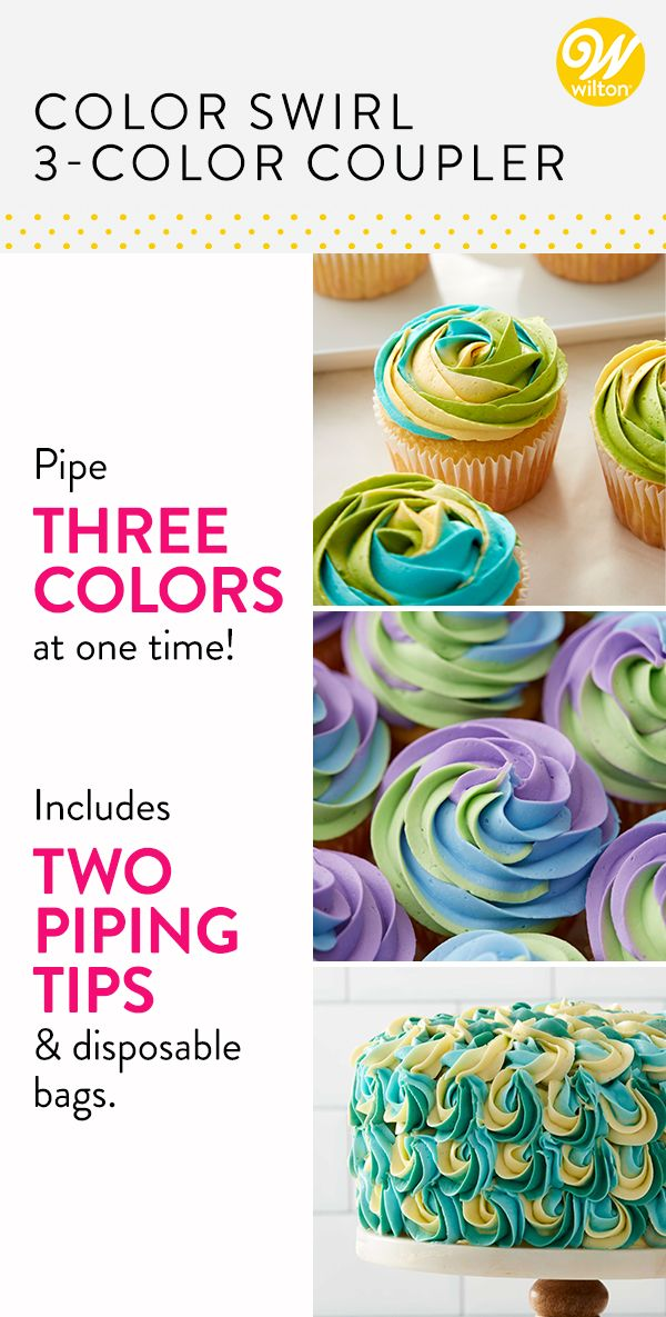 Color Swirl 3 Color Coupler Cupcake Decorating Set Cake