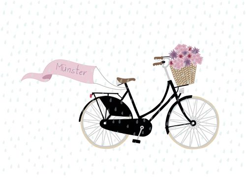 postcard by faltmanufaktur #bike #flowers #basket