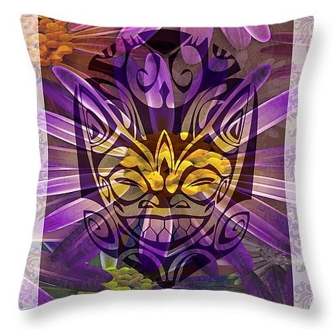 "This design is a bit tongue in cheek: An ancient smiling mask blended with a beautiful purple and yellow flower. ""Beauty and the Beast"" perhaps? Looking for something a bit edgy as a gift? This cushion might do the trick!"