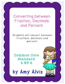 1000+ images about Fractions, Decimals, and Percents on Pinterest