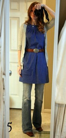 How to wear a short dress over jeans.