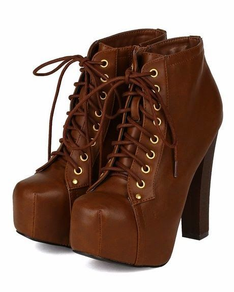 Women Shoes Breckelles AD76-Britney-02 Women Leatherette Lace Up Round Toe Platform Ankle Bootie - Store Online for Your Live and Style