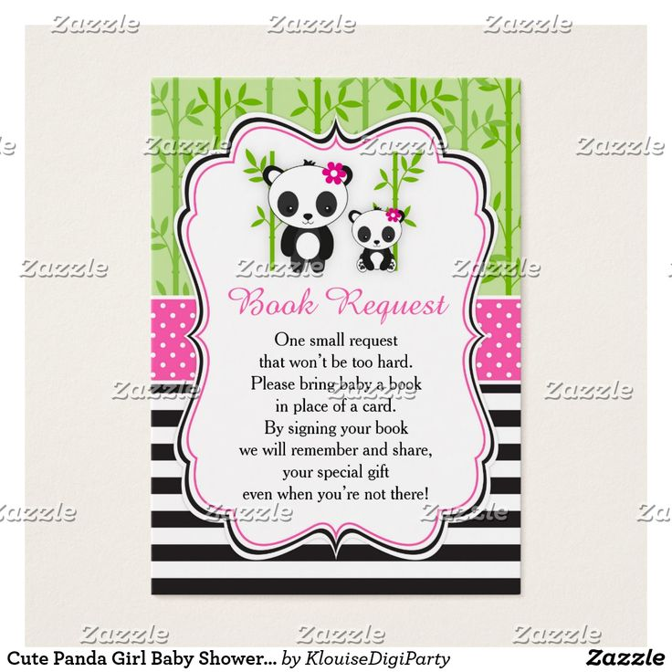 Cute Panda Girl Baby Shower Book Request Business Card