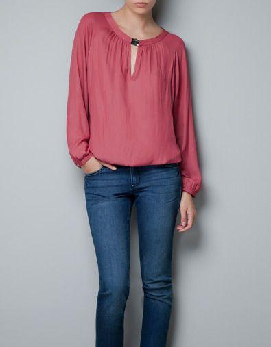 BLOUSE WITH JEWELLED NECKLINE - Shirts - Woman - ZARA Croatia (Hrvatska)