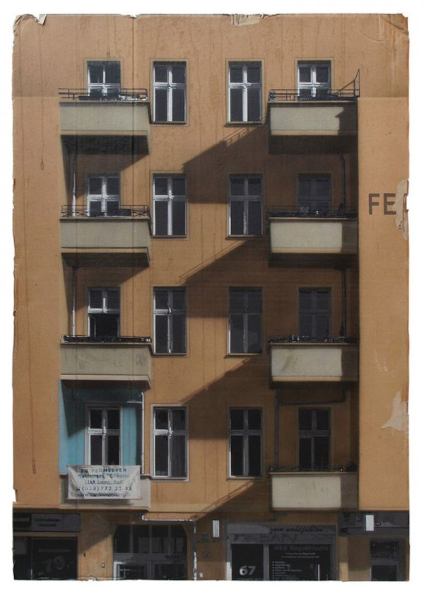 German artist EVOL is known for creating detailed structures or urban cityscapes out of found material. His work below was created using spray paint and stencils on flat sheets of recycled cardboard. via juxtapoz