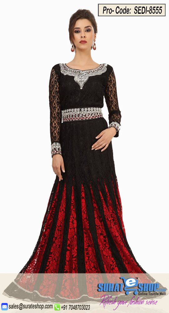 Vogue And Pattern Will Be On The Peak Of Your Magnificence Once You Attire This Black & Red Brasso, Net Gown. The Lace, Resham, Sequins, Stones Work On Dress Personifies The Complete Appearance. Paired With A Matching   Vsit: http://surateshop.com/product-details.php?cid=2_27_47&pid=12240&mid=0