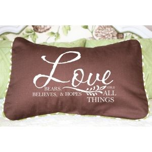 Love Bears, Believes, and Hopes All Things Pillow | Decorator Pillows With Our Best Selling Verses Christian Wall Decals