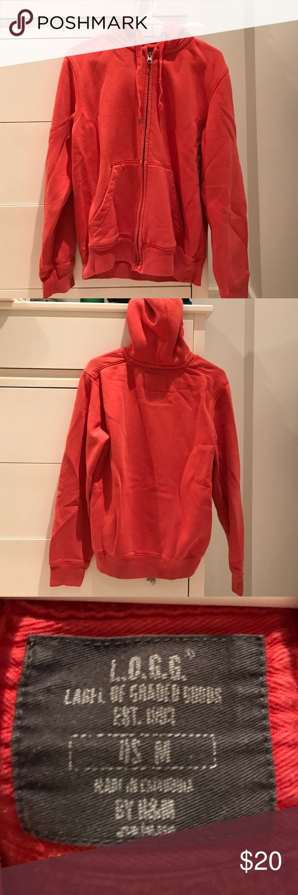 L.O.G.G. BY H&M MENS ORANGE ZIP UP HOODIE SIZE:M L.O.G.G. BY H&M MENS ORANGE ZIP UP HOODIE SIZE:M H&M Sweaters Zip Up