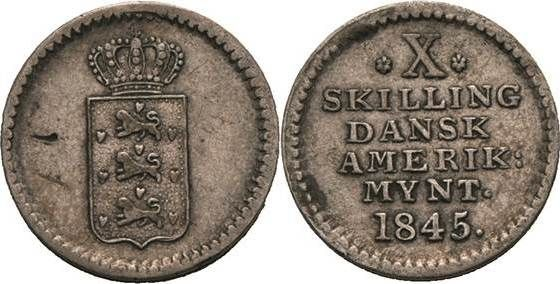 10 Skilling 1845, Danish West Indies, Christian VIII. 1839-1848